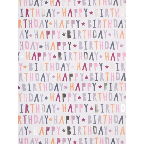 Pink Birthday Text Single Sheet Wrapping Paper