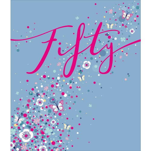 50th Birthday Blue With Scatter Dots Butterflies Card