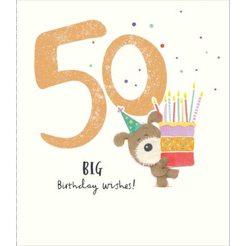 50th Birthday Woof Dog Cake Card