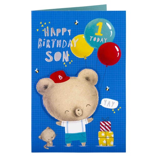 Happy Bear Son 1st Birthday Card