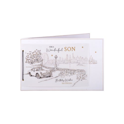 Vintage Car Son Birthday Card