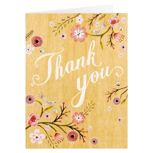 Floral Embellished Thank You Card
