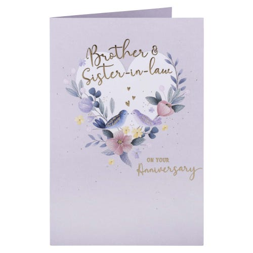 Heart & Flowers Brother & Sister In Law Anniversary Card