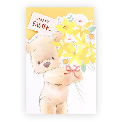 Teddy with Flowers Easter Card