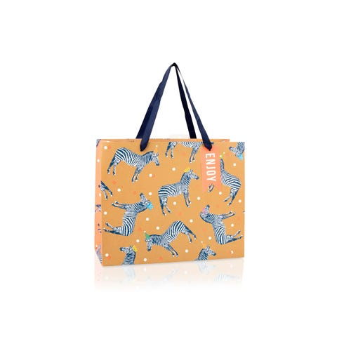 Kraft With Zebras Large Gift Bag