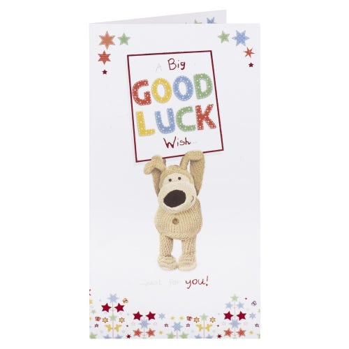 Boofle Holding Sign Good Luck Card