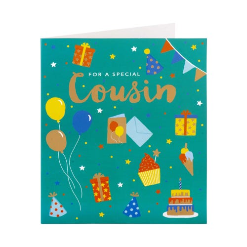Colourful Bunting Cousin Birthday Card