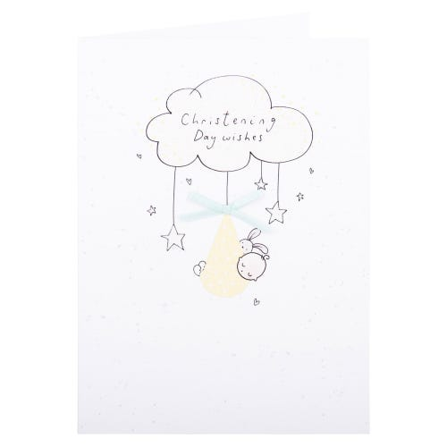 Baby & Bunny Christening Card