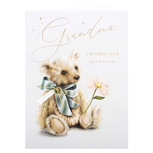Bear with Flower Grandma Birthday Card