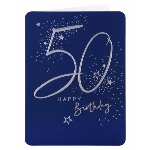 Silver Lettering 50th Birthday Card