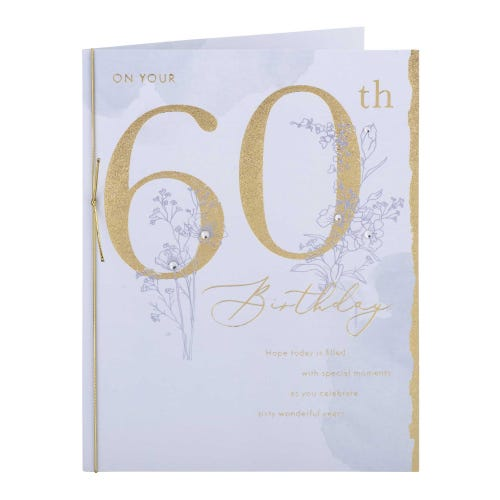 Gold Lettering 60th Birthday Card