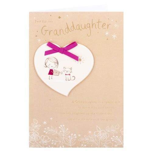 Girl & Kitten Granddaughter Birthday Card