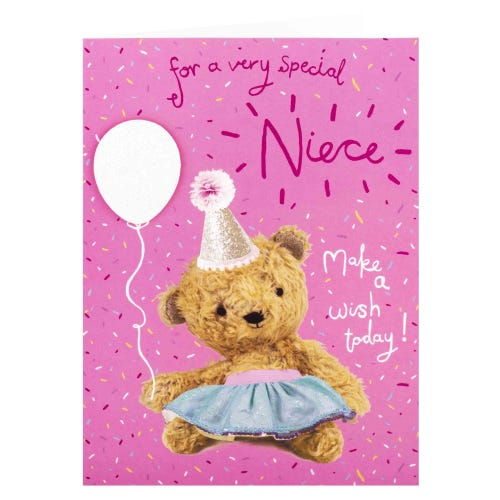 Bear with Balloon Niece Birthday Card