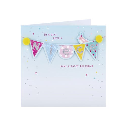 Coloured Bunting Niece Birthday Card