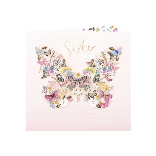 Butterly Collage Sister Birthday Card