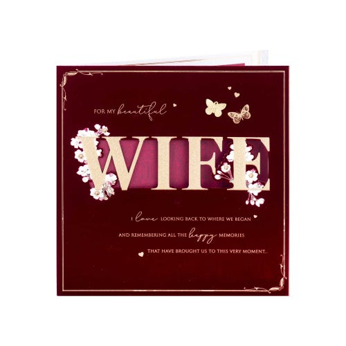 Gold Lettering Wife Birthday Card