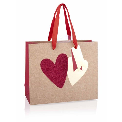 Gold and Red Glitter Hearts Medium Valentine's Gift Bag