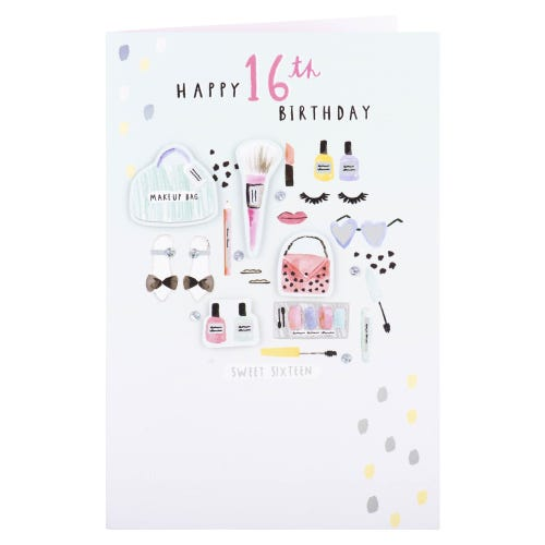 Make-up Bag 16th Birthday Card