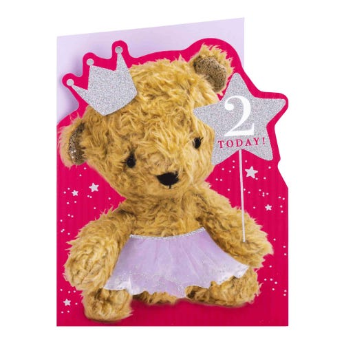 Bear with Crown 2nd Birthday Card