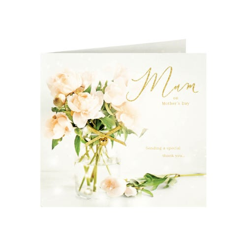 Roses & Gold Ribbon Mother's Day Card