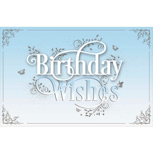Birthday Wishes Text Blue Card