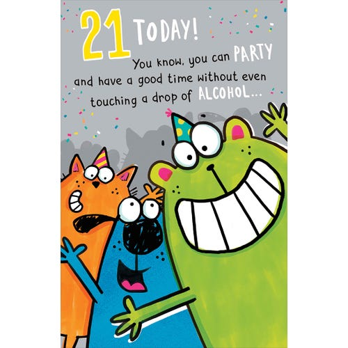 21st Birthday Cartoon Animals With Party Hats Card