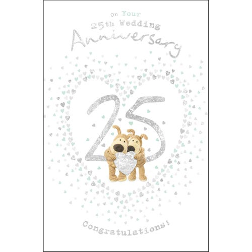25th Wedding Anniversary Boofles Holding A Heart Together Card