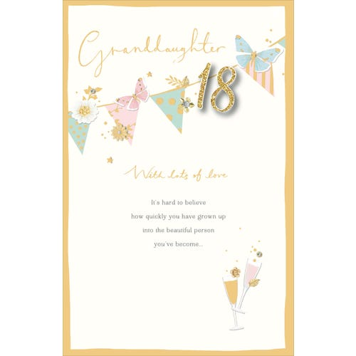 18Th Granddaughter Birthday Bunting Card