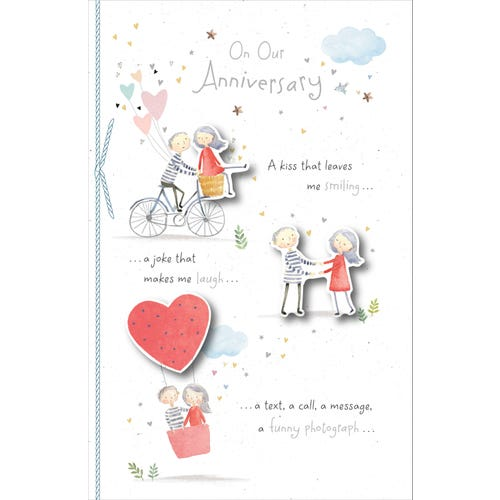 On Our Wedding Anniversary A Kiss That Leaves Me Smiling Card