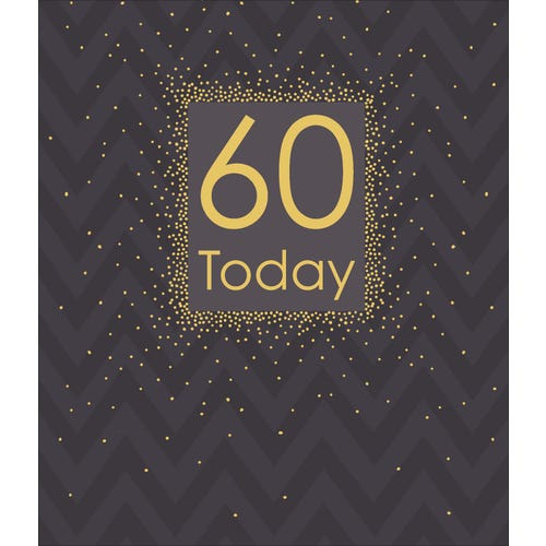 60th Birthday Black With Gold Text Card