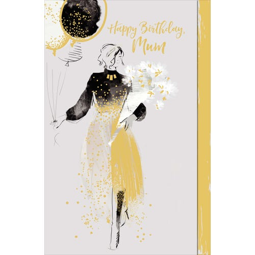 Mum Birthday Card Lady Holding Flowers And Balloons
