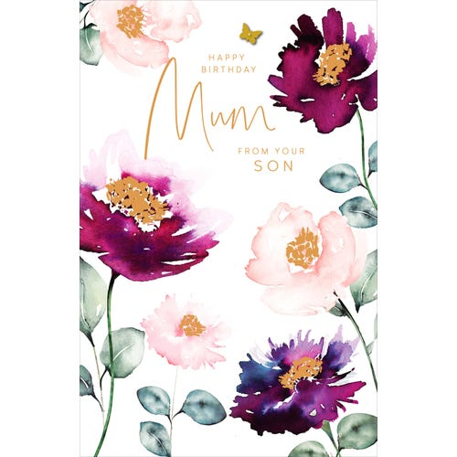 Mum From Son Birthday Card Watercolour Floral