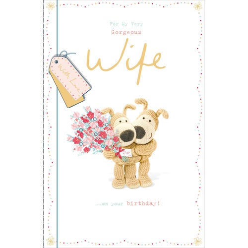 Wife Birthday Card Boofles Cuddling with a Bunch of Flowers