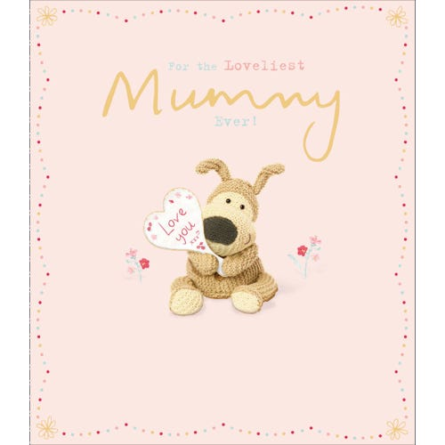 Mummy Birthday Card Boofle Holding Love You Sign