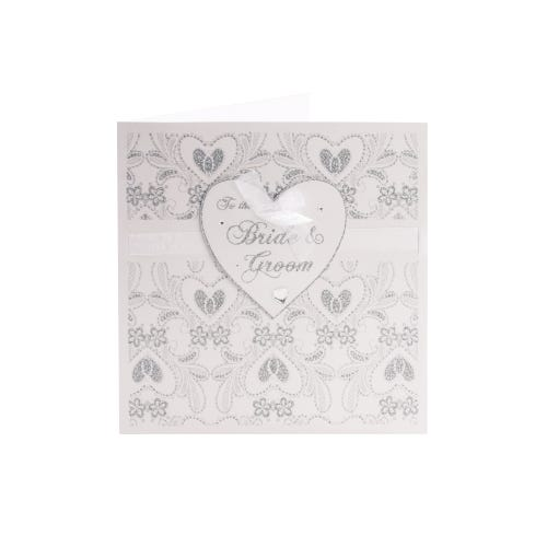 Sparkling Hearts Bride & Groom Wedding Card