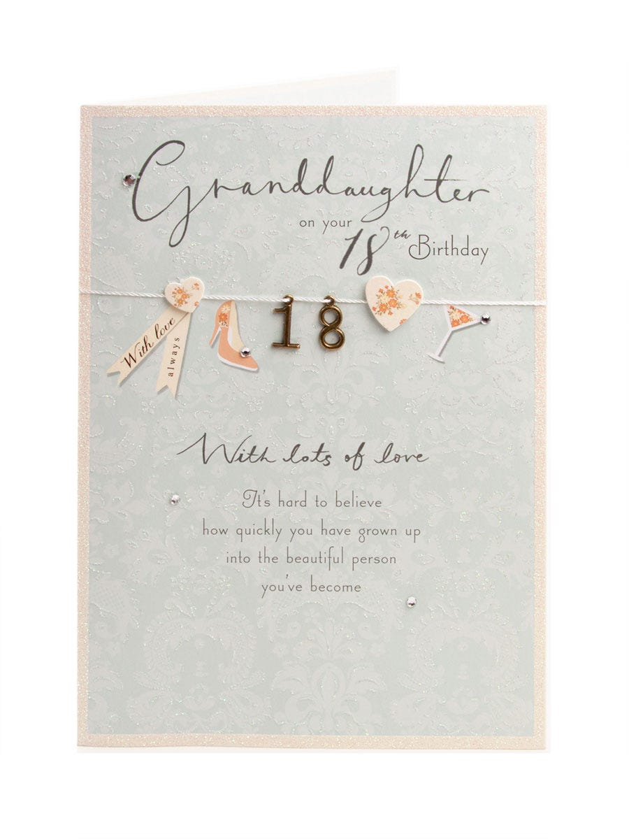 Clintons Collection Granddaugher Sparkling 18th Birthday Card