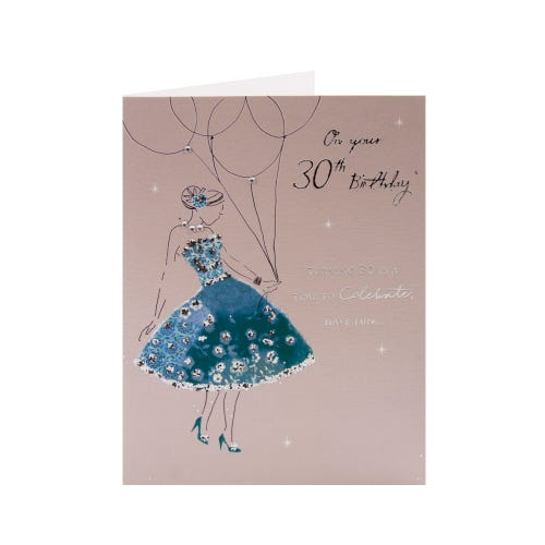 30th Birthday Card Girl In Teal Dress