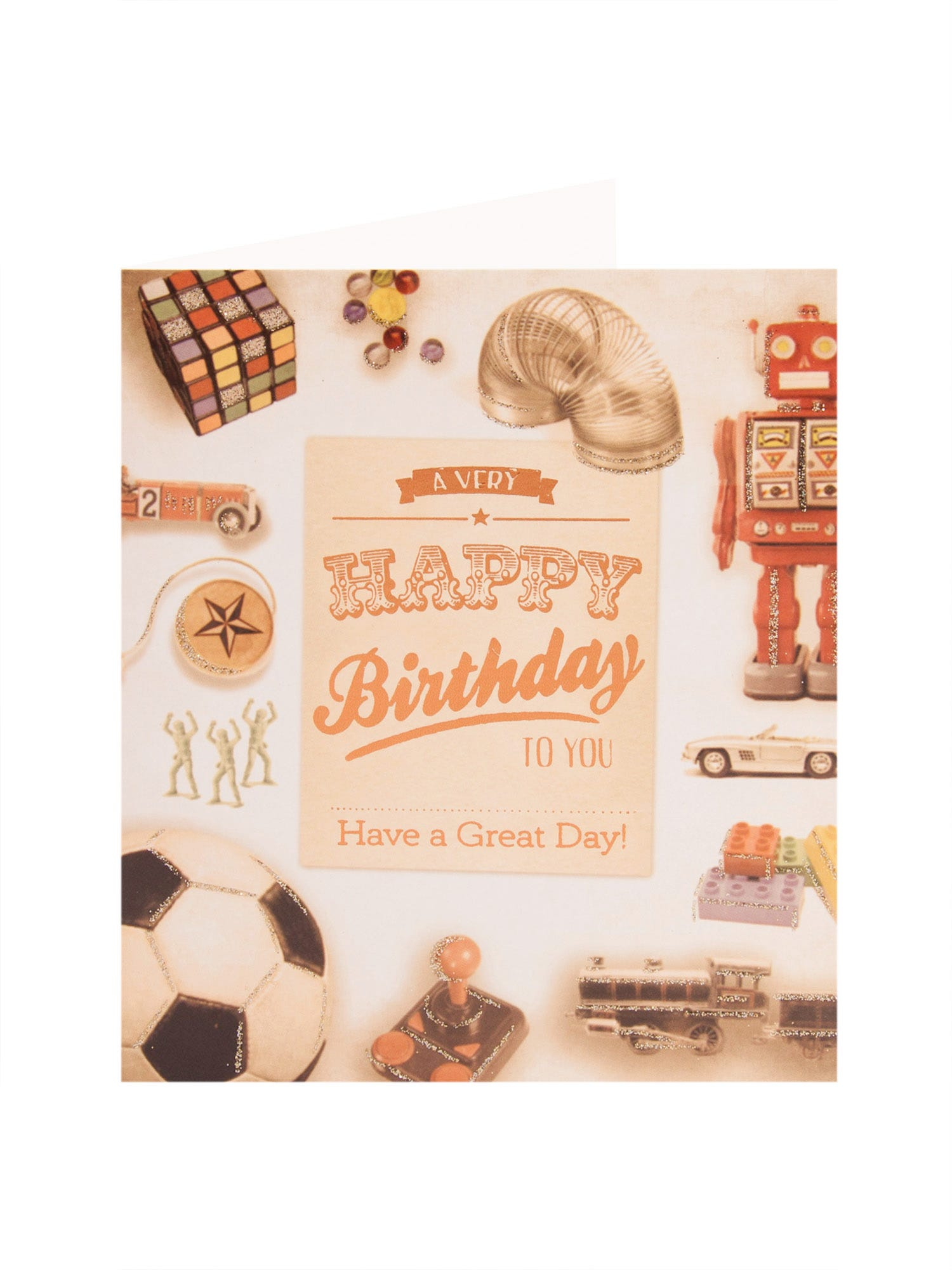 Simply Retro Toys Birthday Card <p>A lovely blast form the past form the Simply range for a loved one on his Birthday. The card features an illustrated mixture of images of old toys from yesteryear. Includes a red envelope</p>