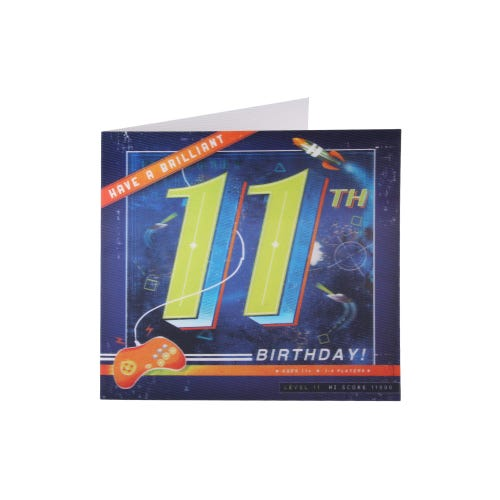 Space Video Game 11th Birthday Card
