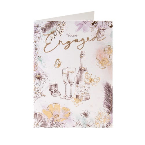 Engagement Champagne Floral & Butterfly