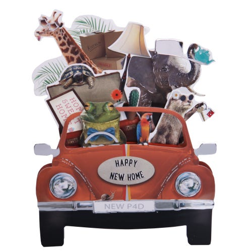 Animal pop out moving home card