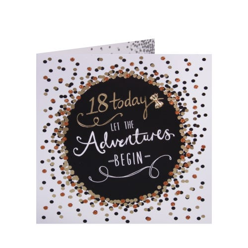 Gold Confetti 18th Birthday card