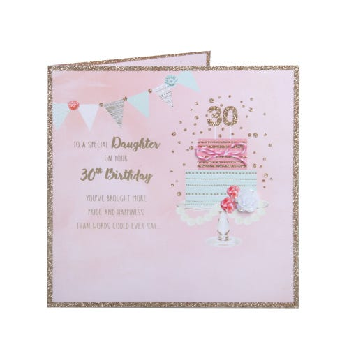 Daughter 30th Birthday Card - 2 tier cake on stand