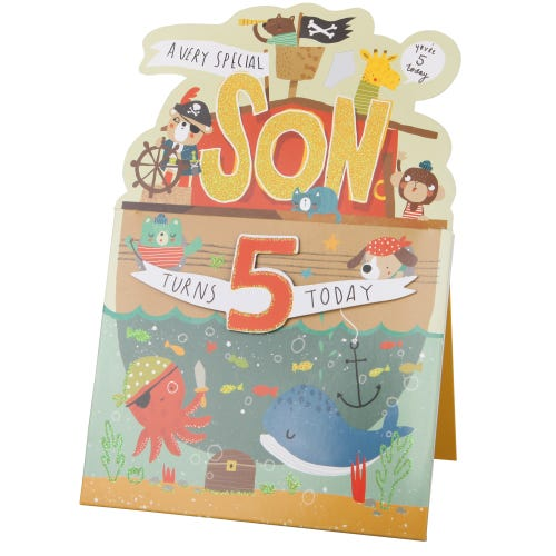 Pirates Swashbuckling Son 5th Birthday Card