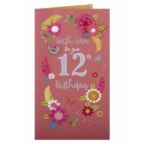 Flowers & Feathers 12th Birthday Card
