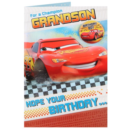 Disney's Cars Crossing The Finishing Line Grandson Birthday Card
