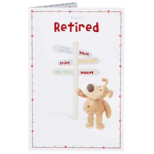 Boofle You're Retired Card