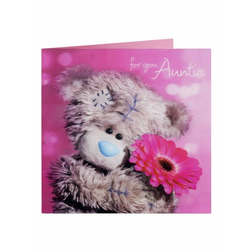 Me to You 3-D Leticular Gerbera Auntie Birthday Card