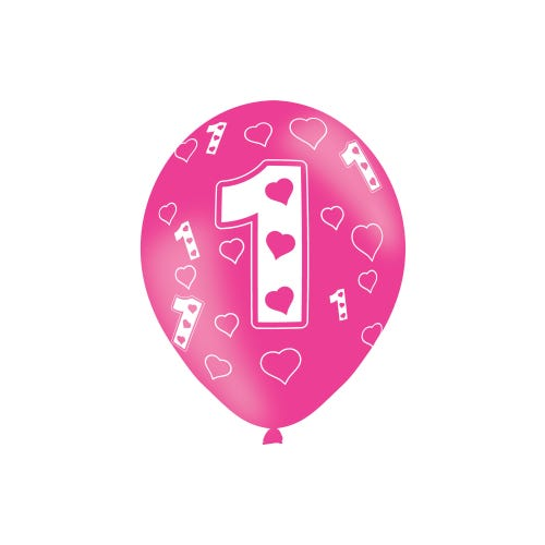 1st Birthday Pink Latex Balloons 6 Pack