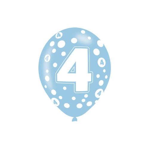 4th Birthday Assorted Colours Latex Balloons 6 Pack